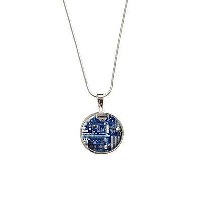 Blue Computer Motherboard - Processor CPU Memory Pendant with Sterling Silver