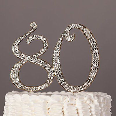 80 Cake Topper for 80th Birthday - Rhinestone Number Party Supplies & Decoration