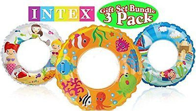 Intex Ocean Reef Transparent Swim Rings Fish Mermaid & Beach Gift Set Bundle
