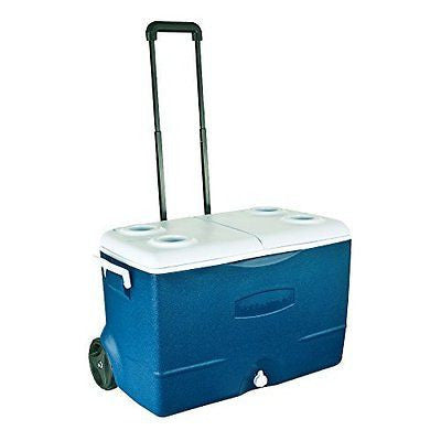 Rubbermaid FG2A9202MODBL Extreme 5-Day Wheeled Ice Chest/Cooler 50-Quart Blue