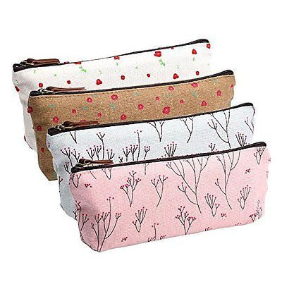 eBoot Canvas Pen Pencil Case Stationery Pouch Bag Case Cosmetic Bags, Set of 4