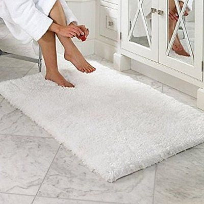 LOCHAS Soft Shaggy Bath Mat Bathroom Rug Anti-slip Floor Mat Absorbs Water