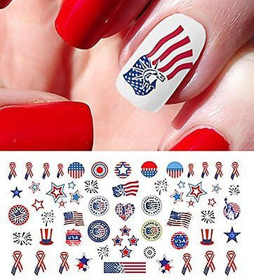 4th of July I Love America Nail Art Waterslide Decals Great for Memorial Day
