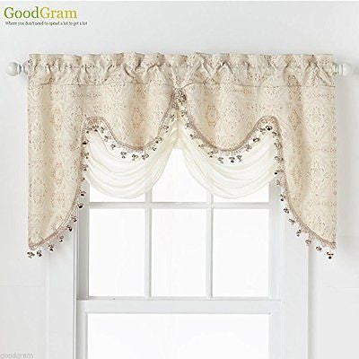 Ultra Elegant Clipped Jacquard Georgette Fringed Window Valance