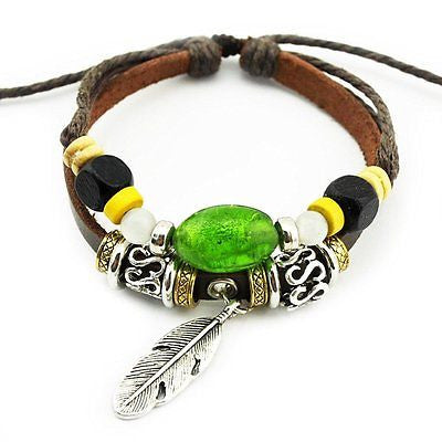Handmade Tribal Beads Strand Feather Charms Leather Wrap Bracelet