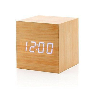 Sungwoo Digital Wooden Alarm Clock Mini Voice Control Alarm Clock