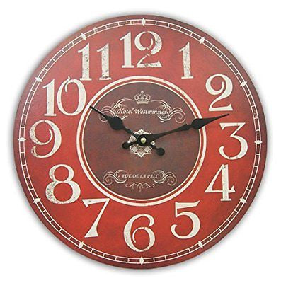 Round Decorative Clock Red and Burgundy With White Numbers And Distressed Face