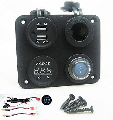 Quade 3.1 Amp USB Charger + Voltmeter +12V Socket + Switch + Wires Panel Marine