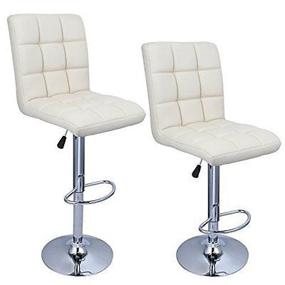 Bellezza? Swivel Leather Adjustable Hydraulic Bar Stool Cream Soda, Set of 2