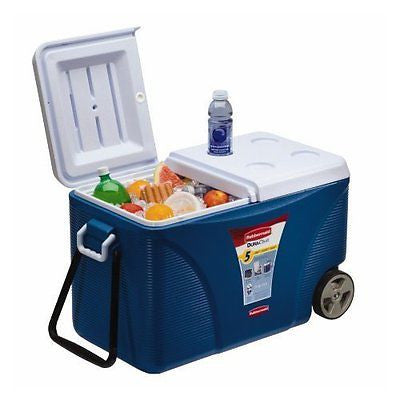 Rubbermaid FG2C0902MODBL Extreme 5-Day Wheeled Ice Chest/Cooler 75-Quart Blue