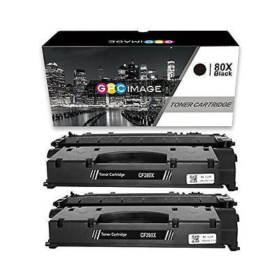 GPC Image 2 Compatible Toner Replacement for HP 80X CF280X (2 Black)