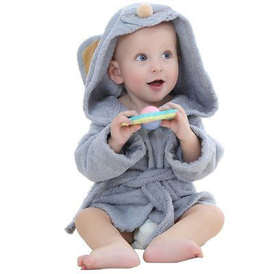 Baby Bathrobe Towel Hooded Baby Romper 0-12months