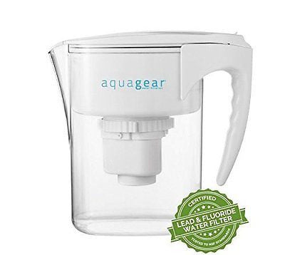 Aquagear Water Filter Pitcher - Removes Fluoride & Lead - 150 Gallon Filter