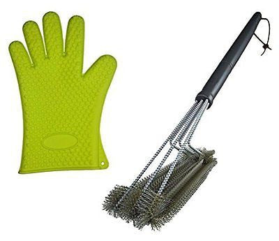 Best BBQ Grill Brush + Heat Resistant Silicone Kitchen Glove Set