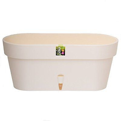 Santino Self Watering Window Box Planter Latina 15.6 Inch Cream Indoor Outdoor