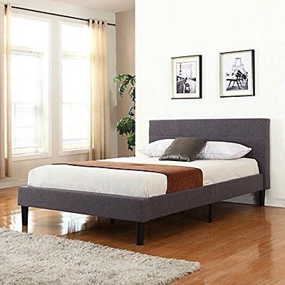 Deluxe Tufted Grey Platform Bed Frame with Wooden Slats (Full)