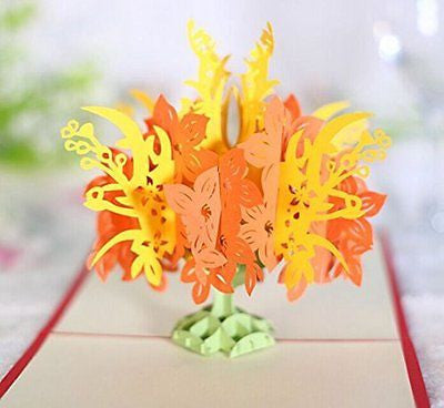 GUchina 4 Flowers 3D Pop Up Greeting Card Handmade Kirigami & Origami Happy