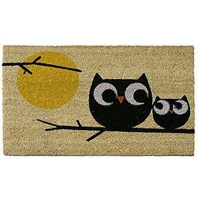 "Rubber-Cal ""Affection! Owl Doormats"" Coir Entrance Mats, 18 x 30-Inch"