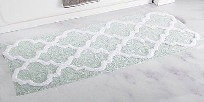 Bedford Home 100% Cotton Trellis Bathroom Mat - 24x60 inches - Seafoam