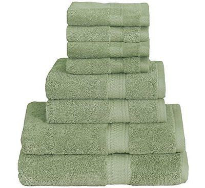 8 Piece Towel Set (Green); 2 Bath Towels, 2 Hand Towels & 4 Washcloths