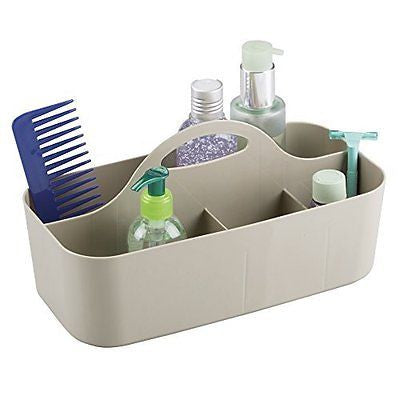 mDesign Bathroom Shower Caddy Tote for Shampoo, Soap, Razors - Medium, Taupe
