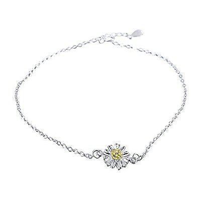 Morenitor[TM] Ankle Bracelet 18k Gold-plated 925 Sterling Silver Daisy Flower