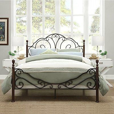 LeAnn Graceful Scroll Bronze Iron Bed Frame (King)