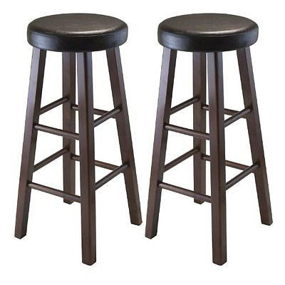 Wood Marta Assembled Round Bar Stool with Seat and Square Legs 29-Inch Set of 2