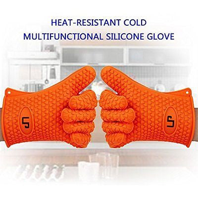 LP Silicone Heat Resistant Grilling BBQ Gloves (Pair) for Cooking Camping Baking