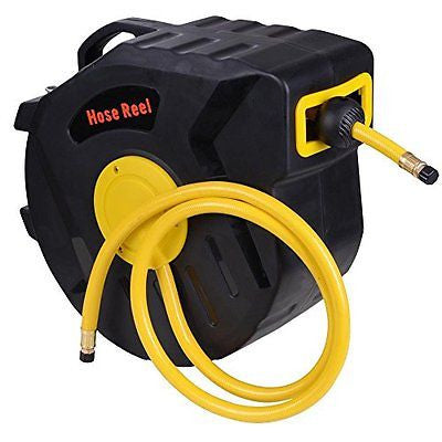 50ft X 3/8inch Retractable Auto Rewind Air Hose Reel Tools Compressor Garage