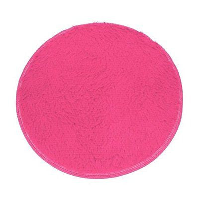 Soft Bath Bedroom Floor Shower Round Mat Rug Non-slip (Hot Pink)