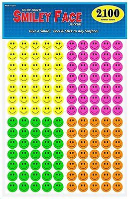 Pack of 2100, Happy Face Smiley Stickers, ? inch Round Circles