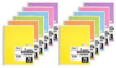 "Mead Spiral Notebook, College Ruled, 1 Subject, 70 Sheets, 7.5"" x 10.5"""