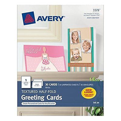 Avery Textured Half-Fold Greeting Cards for Inkjet Printers, Uncoated,