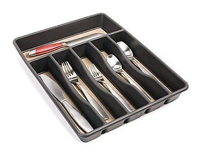 No-Slip Cutlery Tray Large Black 1.9 x 11.9 x 15.1