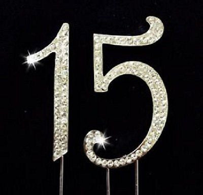 15 Silver Rhinestone Crystal Cake Topper Silver, Gold Numbers, Letters