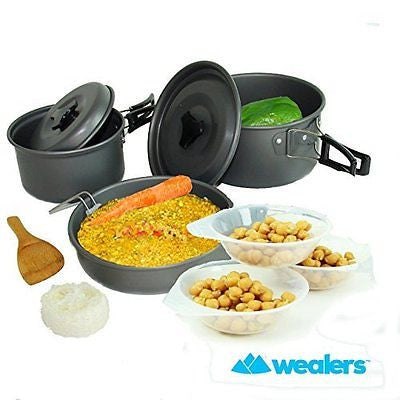 Wealers Ultimate 11 Piece Outdoor Cooking Kit - Compact Lightweight Cookware Set