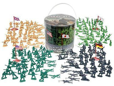 Army Men Action Figures -soldiers of WWII- Big Bucket of Army Soldiers