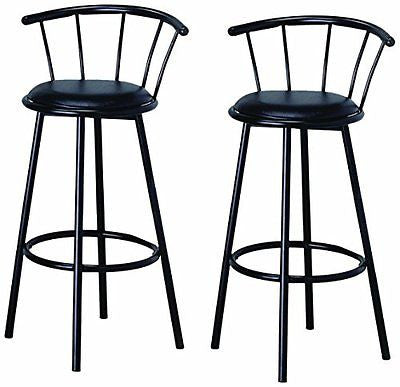 "BTExpert 29"" Swivel Dining Bar Stool Chairs with Footrest & Back Black Finish"