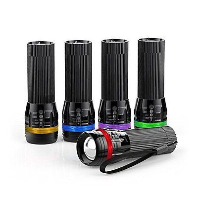 Kootek 5 Pack Zoomable 150 Lumens Mini LED Flashlight with Colored Lucid Ring