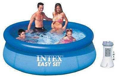 Intex 8 x 30 Easy Set Inflatable Above Ground Pool w/ 530 GPH Filter Pump