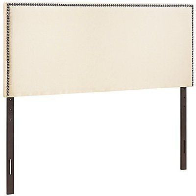 LexMod Region Nailhead Upholstered Headboard Full Ivory