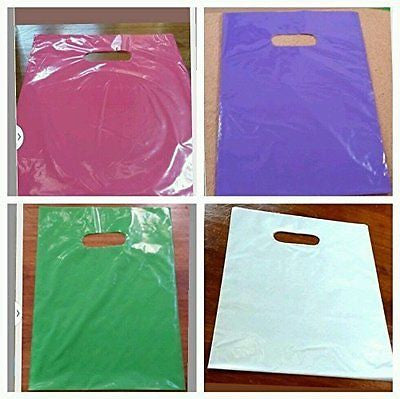 "200 Multi Color Plastic Merchandise Bags Handle Retail Gift Bags 12""x 15"""