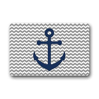 Grey Chevron Pattern With Blue Anchor Art Print Doormats