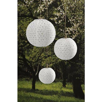 Darice David Tutera 3-Piece Lace Look Paper Lanterns 6/8/10-Inch White