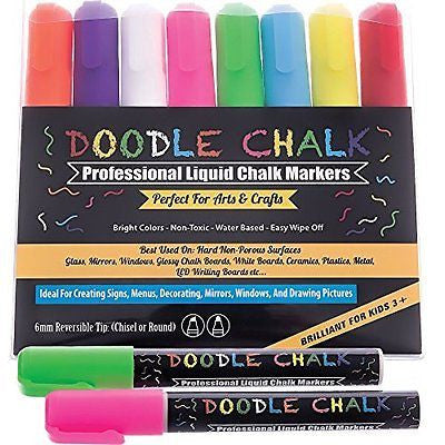 DOODLE CHALK MARKERS Colored 8 Pack BEST for Kids Art Menu Board Bistro Boards