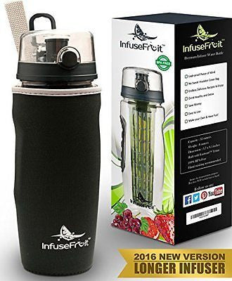 Infuser Water Bottle with Unique Full Length Infuser and Insulating Sleeve