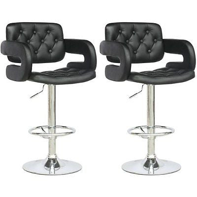 CorLiving DAB-909-B Tufted Adjustable Bar Stool with Armrests Black Leatherette