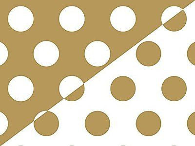 Trendy Reversible Metallic Gold Polka Dot Gift Wrap Wrapping Paper 16 Foot Roll