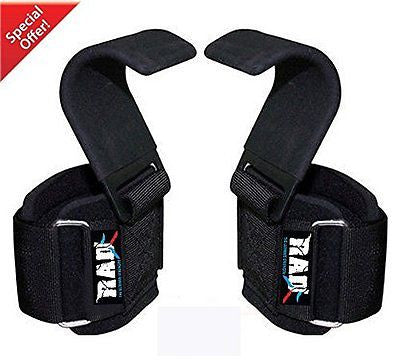RAD Heavy Duty Weightlifting Hooks Wrist Support Straps Power Gripper Chin Up